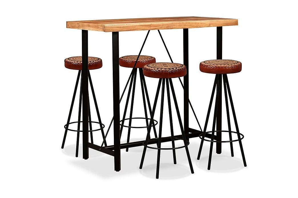 Barmöbler 5 delar massiv akacia, äkta läder & kanvas - Brun - Möbler - Bord - Barbord & ståbord