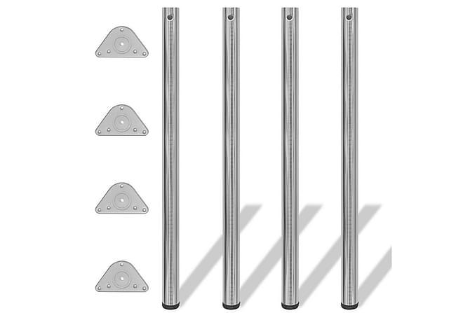 4 Justerbara raka bordsben i borstad nickel 1100 mm - Silver - Möbler - Bord - Bordsben & tillbehör