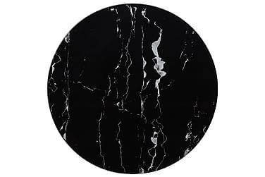 Bordsskiva svart Ø70 cm glas med marmortextur