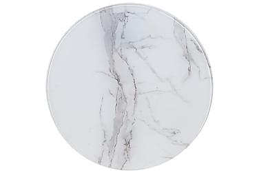 Bordsskiva vit Ø60 cm glas med marmortextur
