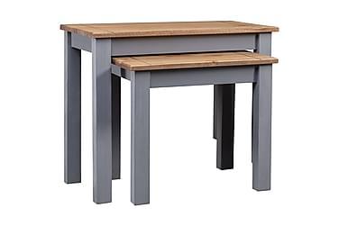 Satsbord 2 st grå massiv furu panama