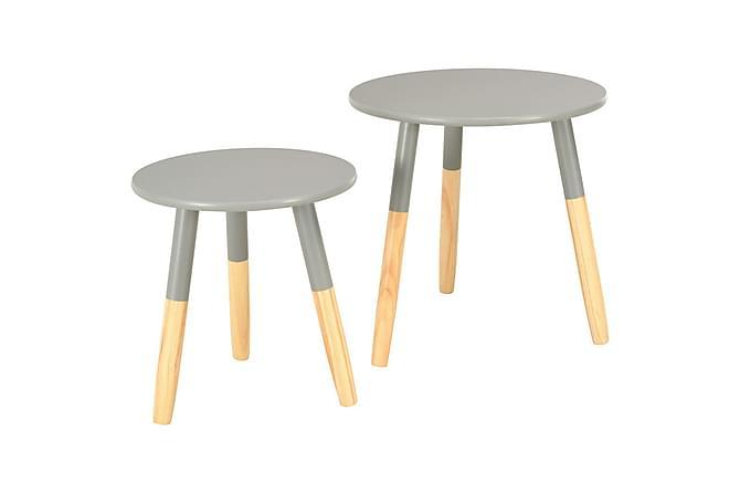 Sidobord 2 st grå massiv furu - Grå - Möbler - Bord - Lampbord & sidobord