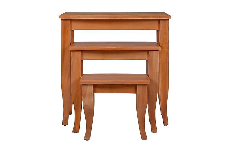 Sidobord 3 st massiv mahogny - Brun - Inredning - Småmöbler - Brickbord & småbord