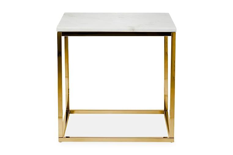 Sidobord Titania 45 cm Marmor - Vit|Mässing - Inredning - Småmöbler - Brickbord & småbord