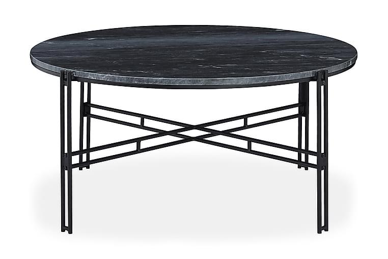 Soffbord Sisko 100 cm Runt Marmor - Grå|Svart - Möbler - Bord - Soffbord