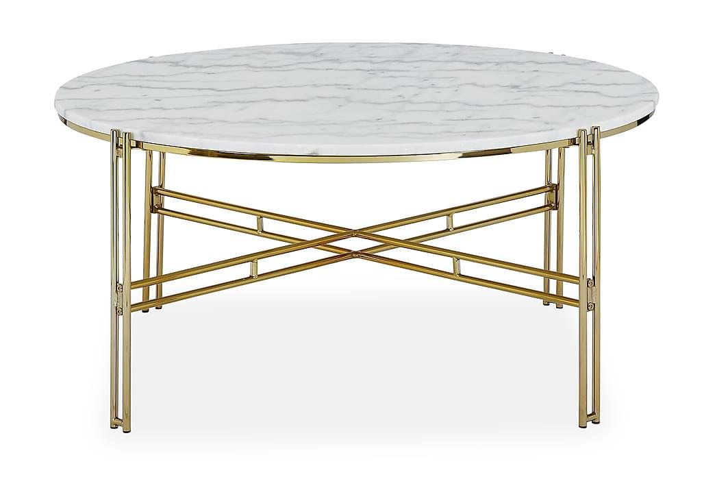 Soffbord Sisko 100 cm Runt Marmor - Vit|Mässing - Möbler - Bord - Soffbord