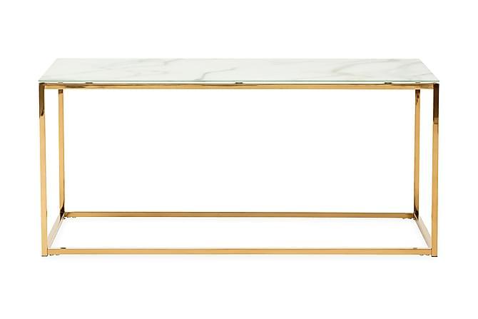 Soffbord Valeria 100 cm - Vit|Mässing - Möbler - Bord - Soffbord