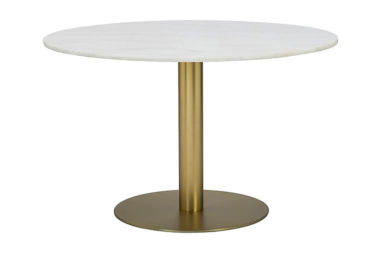 Matbord Justine 106 cm Runt Marmor - Vit Borstad Mässing - Möbler - Bord - Matbord & köksbord