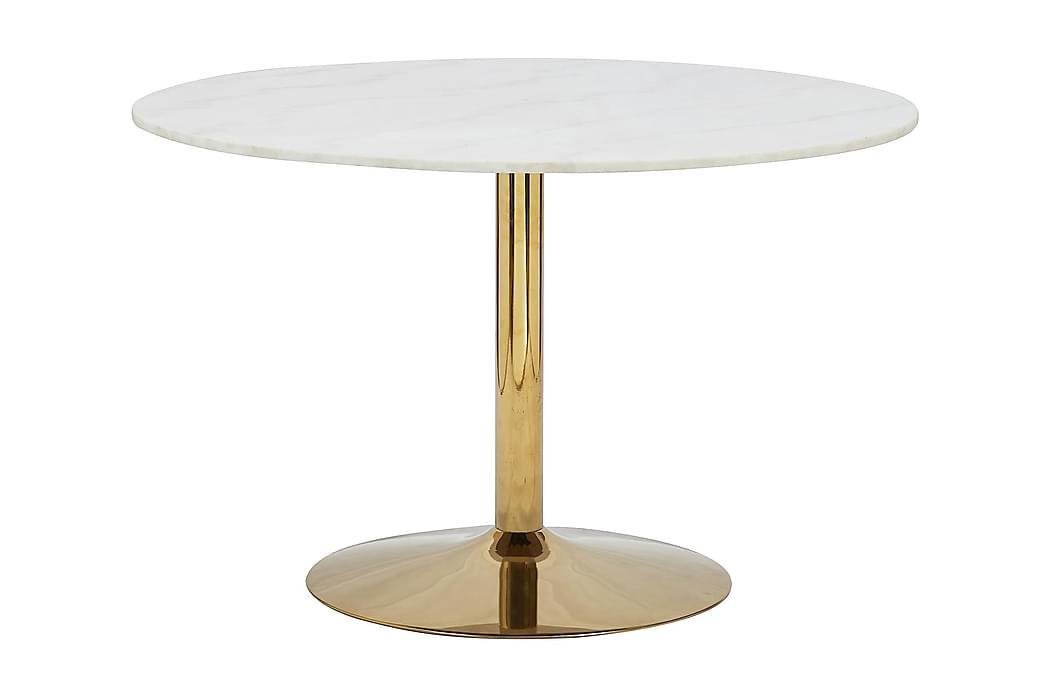 Matbord Justine 120 cm Runt Marmor - Vit|Mässing - Möbler - Bord - Matbord & köksbord
