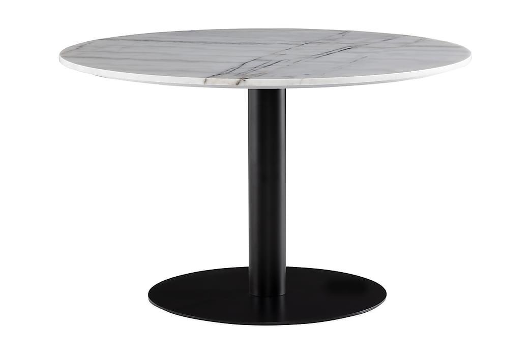 Matbord Justine 120 cm Runt Marmor - Vit|Svart - Möbler - Bord - Matbord & köksbord
