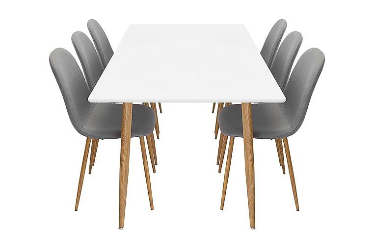 Matgrupp Tommy 180 cm med 6 Stolar - Vit Ek Ljusgrå - Möbler - Bord - Matbord & köksbord