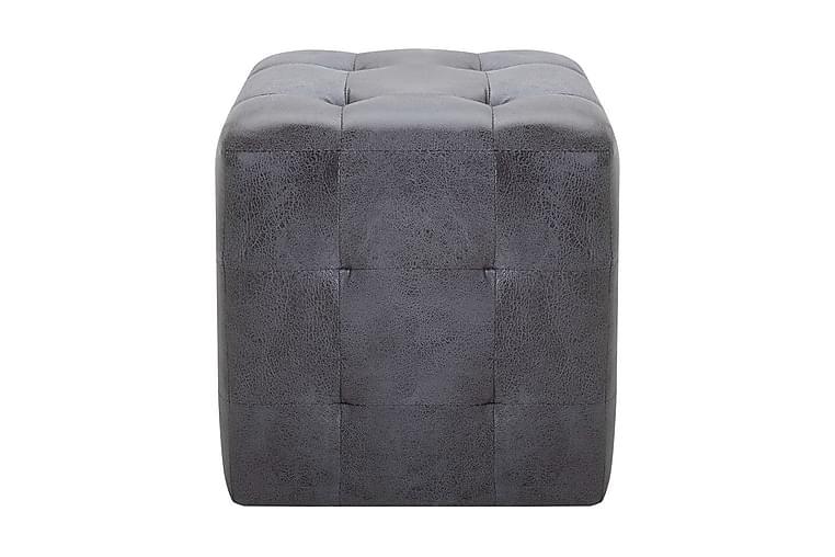Sängbord 2 st grå 30x30x30 cm konstmocka - Grå - Möbler - Bord - Sängbord & nattduksbord