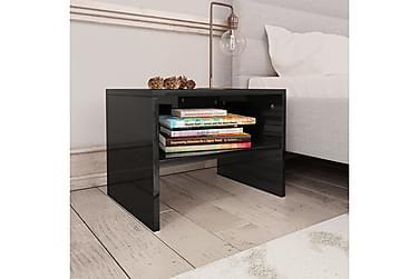 Sängbord 2 st svart högglans 40x30x30 cm spånskiva