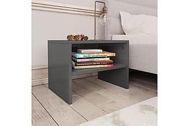 Sängbord grå högglans 40x30x30 cm spånskiva