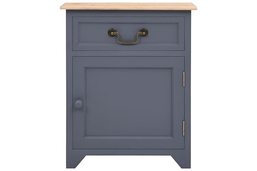 Sängbord grå och brun 40x30x50 cm paulownia - Grå - Möbler - Bord - Sängbord & nattduksbord