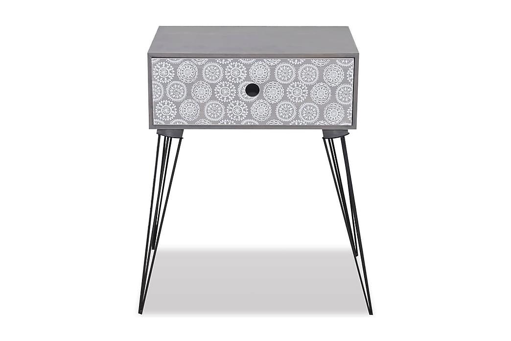 Sängbord med 1 låda rektangulär grå - Grå - Möbler - Bord - Sängbord & nattduksbord