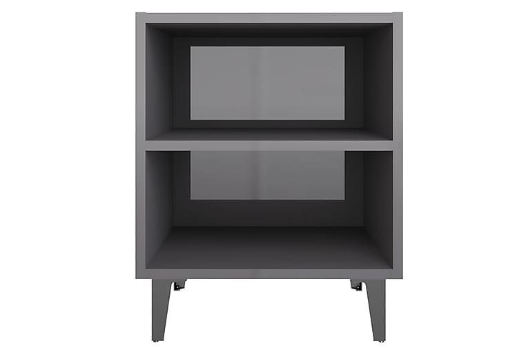 Sängbord med metallben 2 st grå högglans 40x30x50 cm - Grå - Möbler - Bord - Sängbord & nattduksbord