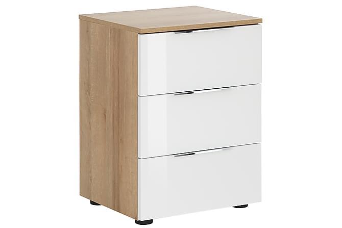 Sängbord Monreal 45,1x61,4 cm 3 Lådor - Brun|Vitt Glas - Möbler - Bord - Sängbord & nattduksbord