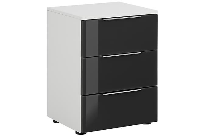 Sängbord Monreal 45,1x61,4 cm 3 Lådor - Vit/Mörkgrått Glas - Möbler - Bord - Sängbord & nattduksbord
