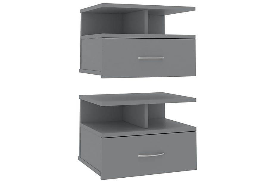 Svävande sängbord 2 st grå 40x31x27 cm spånskiva