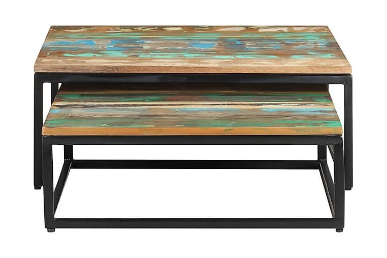 Satsbord 2 st massivt återvunnet trä - Brun - Möbler - Bord - Soffbord