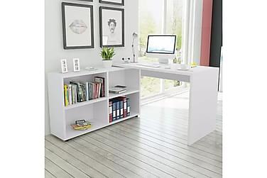Hörnskrivbord 4 hyllor vit