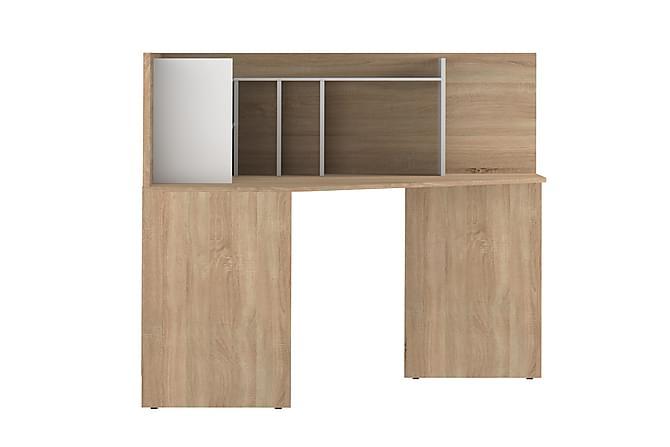 Hörnskrivbord Ulsta Ek/Vit - Hög Panel|Hyllor - Möbler - Bord - Skrivbord