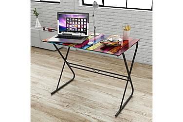 Skrivbord i glas med regnbågsdesign