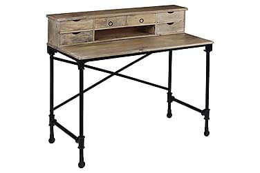 Skrivbord massivt mangoträ och stål 110x50x96 cm