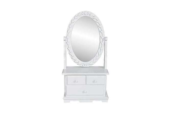 Bordsspegel med justerbar oval spegel MDF - Vit - Möbler - Bord - Sminkbord & toalettbord