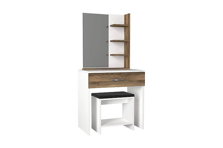 Sminkbord Cecilie med Pall - Vit|Valnöt - Möbler - Bord - Sminkbord & toalettbord