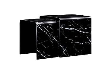 Satsbord 2 st svart marmoreffekt 42x42x41,5 cm härdat glas