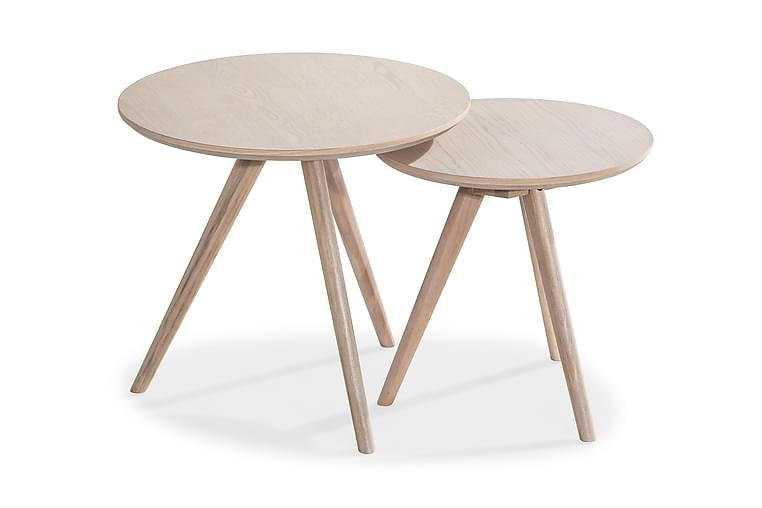 Satsbord Cerovo Runt - Vitpigmenterad Ek - Möbler - Bord - Soffbord
