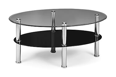 Soffbord Ainur 110 cm Ovalt Glas/Svart
