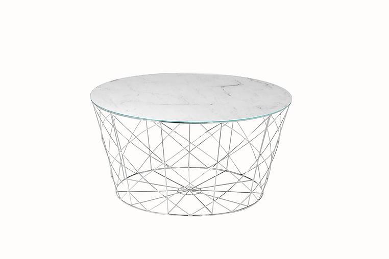 Soffbord Almunge  80 cm - Vit/Krom - Möbler - Bord - Soffbord