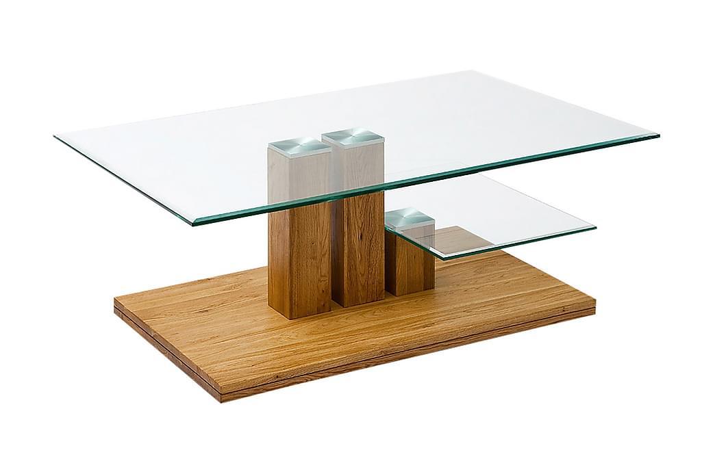 Soffbord Kassiopeia Ek/Klart Glas - Brun Beige - Möbler - Bord - Soffbord