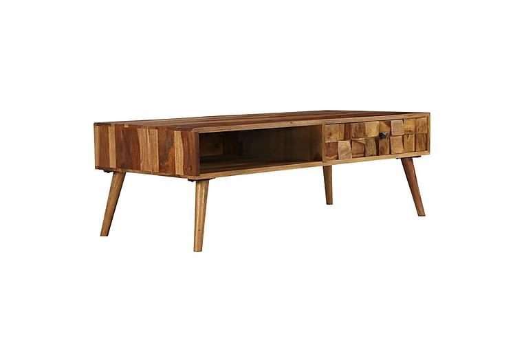 Soffbord massivt sheshamträ med honungsfinish 110x50x37 cm - Brun - Möbler - Bord - Soffbord
