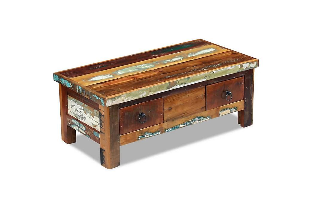 Soffbord med lådor massivt återvunnet trä 90x45x35 cm - Brun - Möbler - Bord - Soffbord