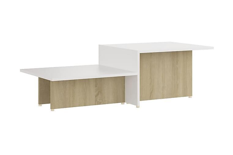 Soffbord sonoma-ek och vit 111,5x50x33 cm spånskiva - Beige - Möbler - Bord - Soffbord