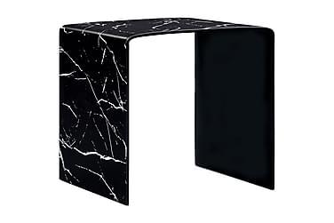Soffbord svart marmor 50x50x45 cm härdat glas