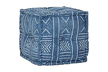 Sittpuff med mönster kub bomull handgjord 40x40 cm indigo