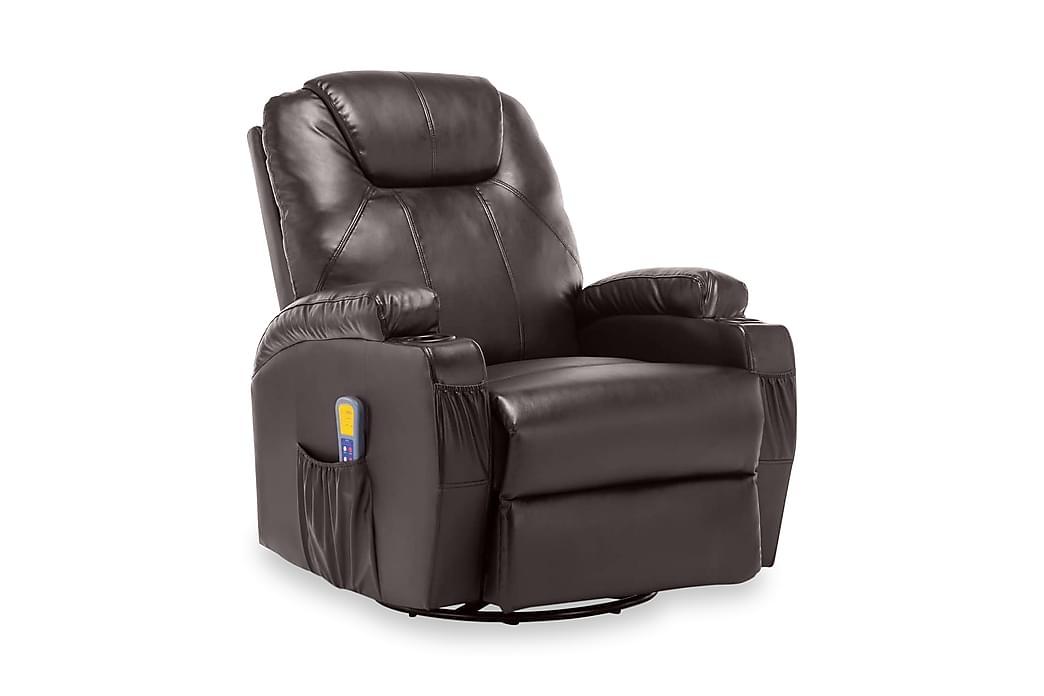 Gungande massagefåtölj justerbar brun konstläder - Brun - Möbler - Fåtöljer & fotpallar - Massagestol & massagefåtölj