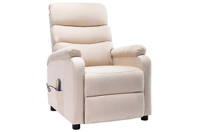 Massagefåtölj gräddvit tyg - Kräm - Möbler - Fåtöljer & fotpallar - Massagestol & massagefåtölj