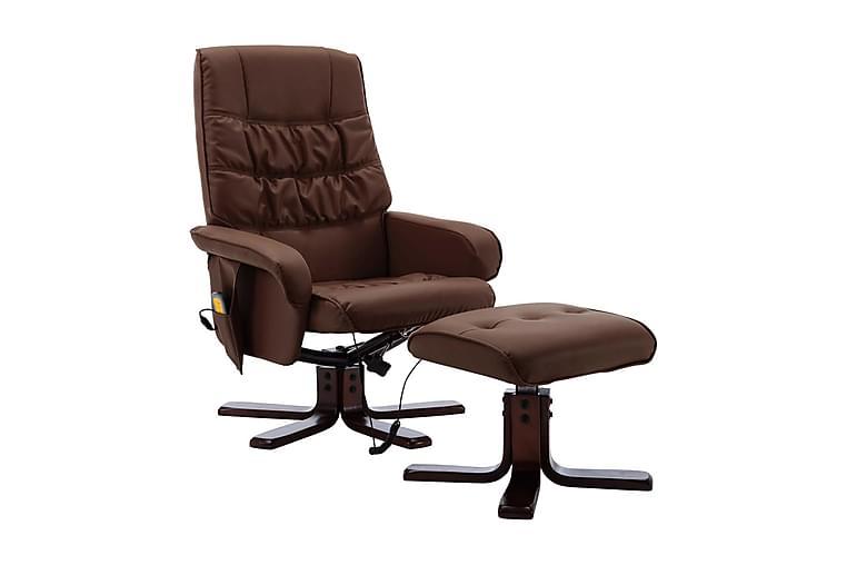 Massagefåtölj med fotpall brun konstläder - Brun - Möbler - Fåtöljer & fotpallar - Massagestol & massagefåtölj