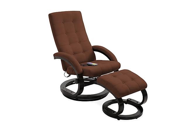 Massagefåtölj med fotpall brun mockakänsla tyg - Brun - Möbler - Fåtöljer & fotpallar - Fåtöljer