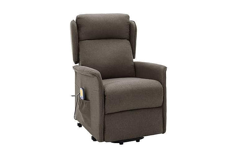 Massagefåtölj med uppresningshjälp brun tyg - Möbler - Fåtöljer & fotpallar - Massagestol & massagefåtölj