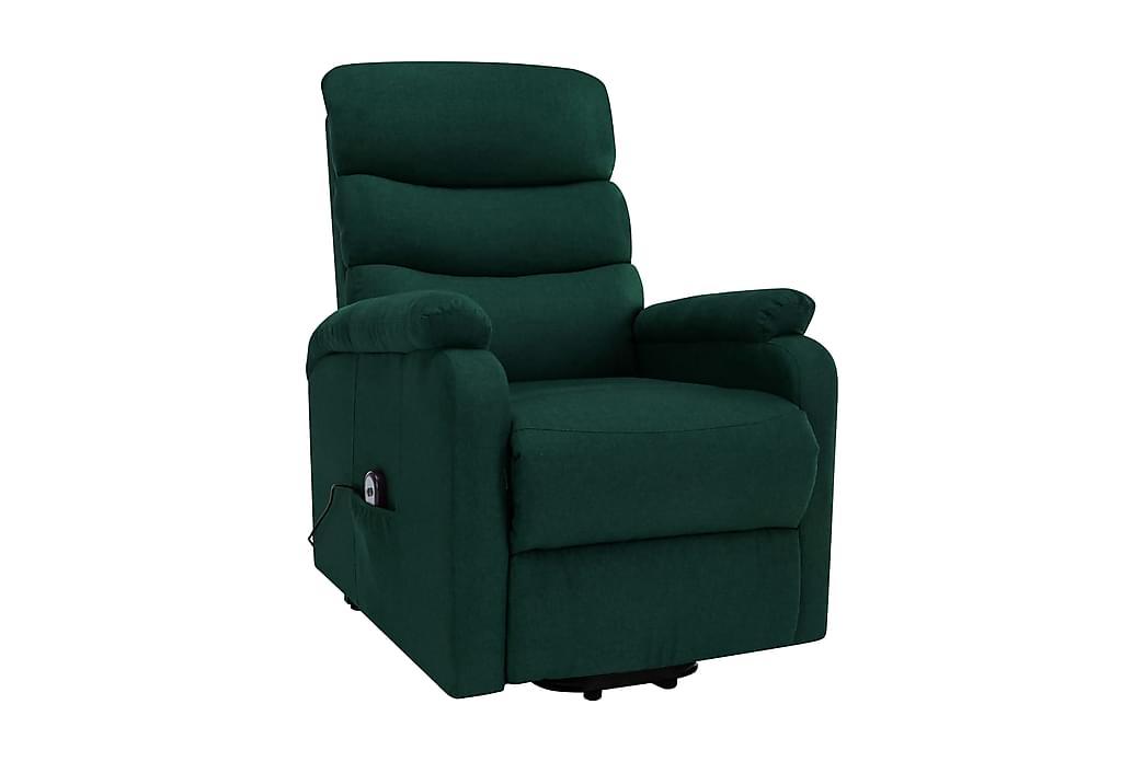 Massagefåtölj med uppresningshjälp mörkgrön tyg - Grön - Möbler - Fåtöljer & fotpallar - Massagestol & massagefåtölj