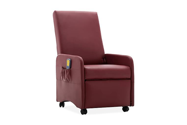 Massagefåtölj vinröd konstläder - Röd - Möbler - Fåtöljer & fotpallar - Massagestol & massagefåtölj