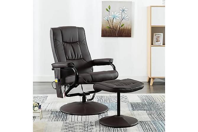 Massagestol med fotpall konstläder brun - Brun - Möbler - Fåtöljer & fotpallar - Massagestol & massagefåtölj