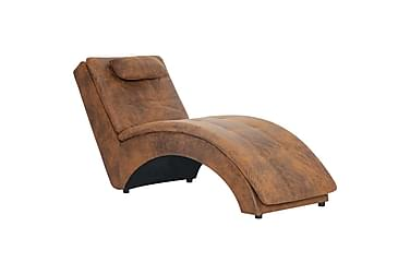 Schäslong med kudde brun konstmocka